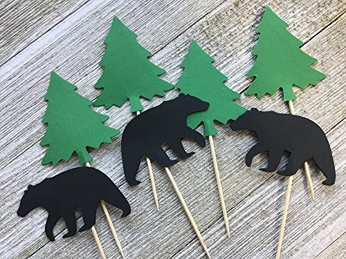 Large Black Bear and Evergreen Tree Cupcake Toppers - Food Picks - Party Picks - Lumberjack Appetizer Picks - Hunter Party - (Set of 12) (Birthday Cake Black Forest)