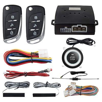 EASYGUARD EC003N-V-1 PKE Passive Keyless Entry Car Alarm System Push Start Button Remote Start Starter DC12V: Car Electronics