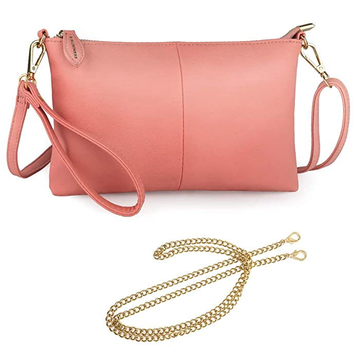 S SUNINESS Anti Theft Crossbody bags - Women Sling Purse Lightweight PU Leather Wallet Wristlet Bags with Adjustable, Chain and Wristlet Strap (Pink) best RFID travel purses