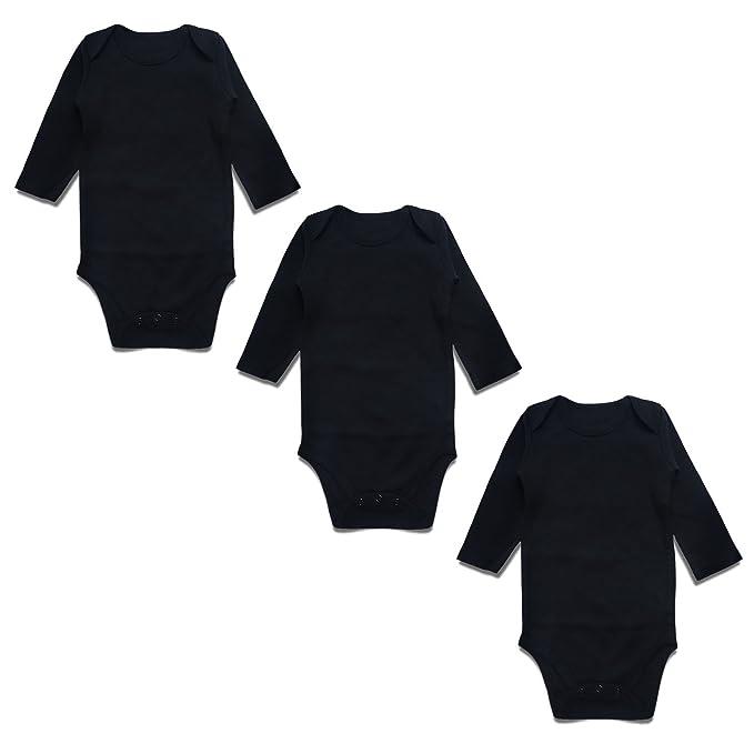 face45d4056b OPAWO Baby Bodysuits Long Sleeve for Unisex Boys Girls Black 3 Pack 0-3  Months