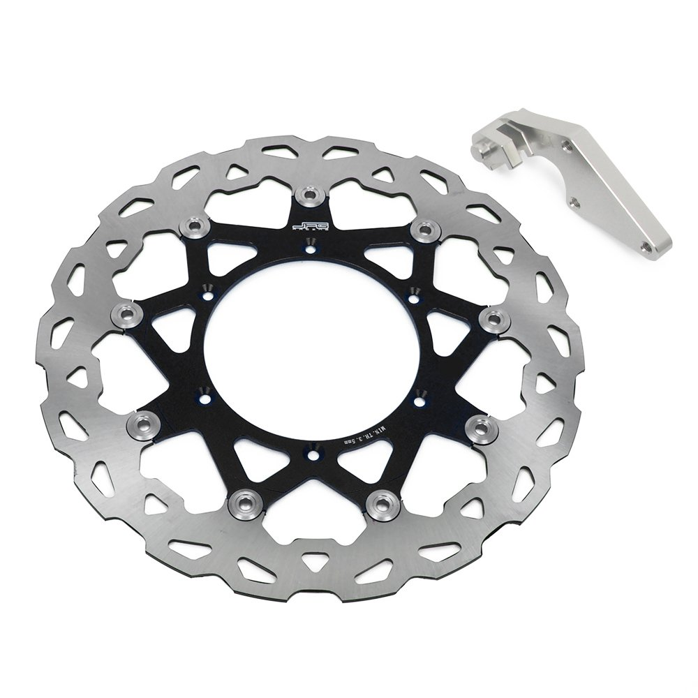 320mm Black Front Floating Brake Disc + Adaptor Bracket - Yamaha YZ250F 07-15 YZ450F 08-15 by JFG RACING (Image #1)