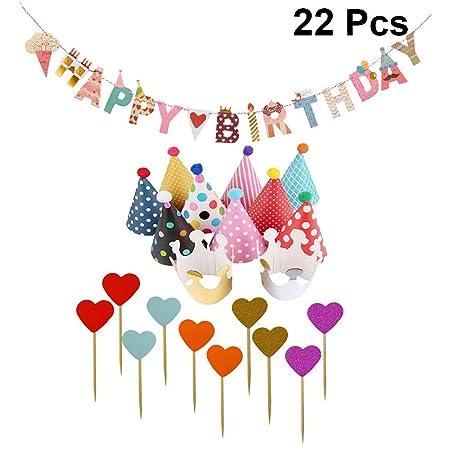 Amosfun - 22 pancartas de cumpleaños con diseño de Cono de ...
