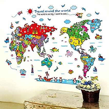 Buy IQ Cartoon Animals World Map Wall Stickers for Kids Room ...