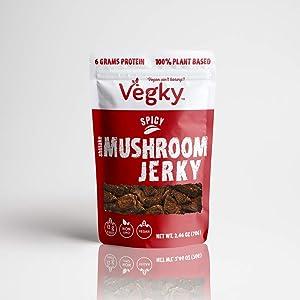 VEGKY Vegan Shiitake Mushroom Jerky SPICY 70 Grams 2.46 oz Non-GMO Vegetarian Meatless Snack Plant Based Cruelty Free…