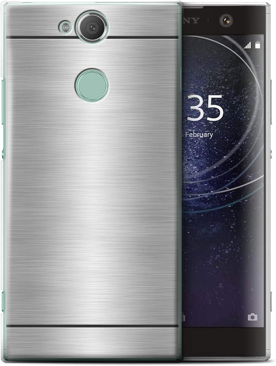 eSwish Coque de Coque pour Sony Xperia XA2 Plus//Argent Design//Motif de M/étal Bross/é Collection