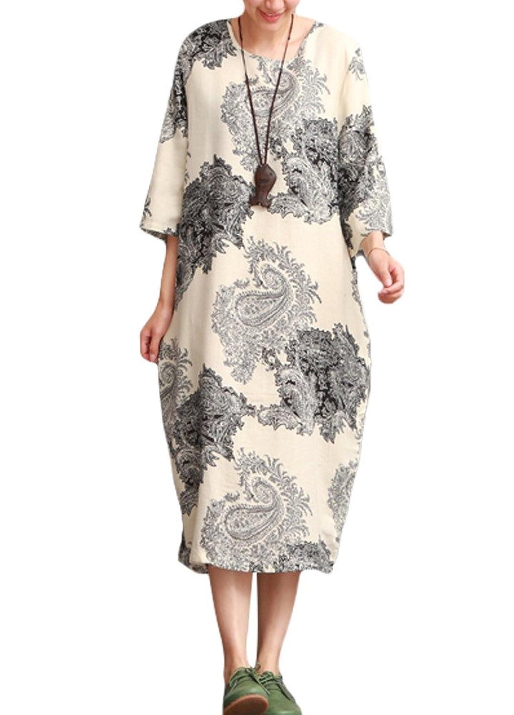 MatchLife Damen Floral Gedruckt Freizeitkleider Rundhals 3/4-Arm Kleider