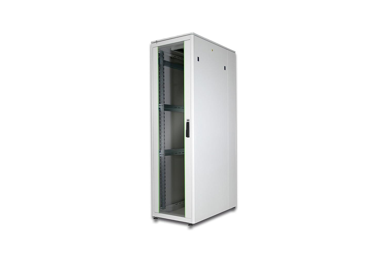 DIGITUS Netzwerkschrank 48,3cm 19Zoll 42HE H2022mmxB600mmxT1000mm grau mit Glastuer inkl. 28xMontageschrauben-Set bis 500KG IP40