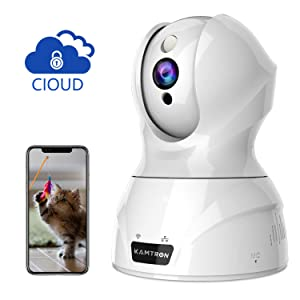 Wireless Security Camera,KAMTRON HD WiFi Security Surveillance IP Camera Home Monitor with Motion Detection Two-Way Audio Night Vision - Cloud Storage,White