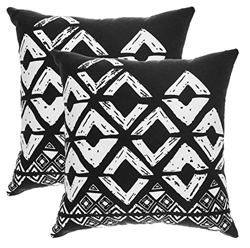 TreeWool, (2 Pack) Throw Pillow Covers Geometric Squares Accent Decorative Pillowcases Toss Pillow Cushion Shams Slips Covers for Sofa Couch (16 x 16 Inches / 40 x 40 cm; Black), White (Geometric Toss Pillow)