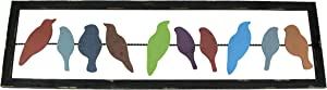 Things2Die4 Wood and Metal Birds on a Wire Framed Wall Sculpture 42 Inches Long