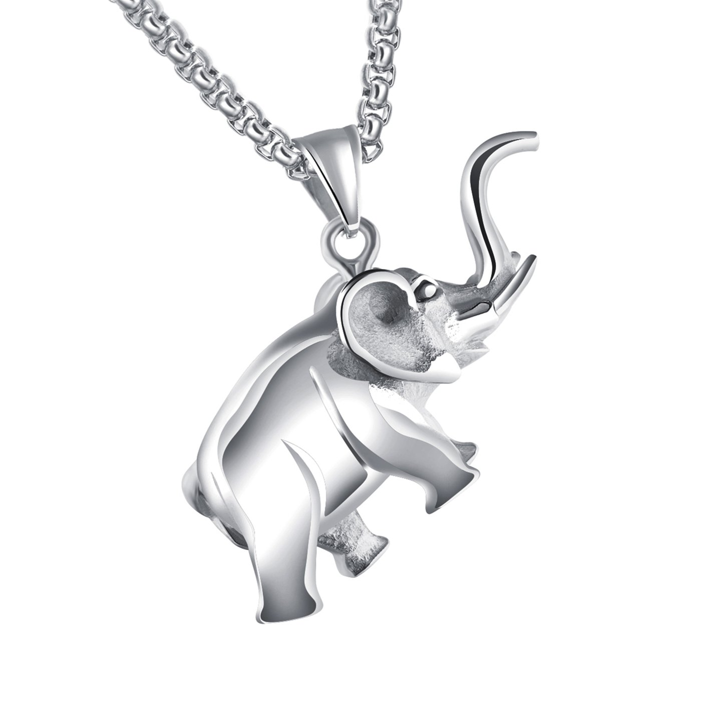 Lary Jewelry Lucky Elephant Pendant Necklace Stainless Steel Rolo Chain Animal Necklace for Men 21.65