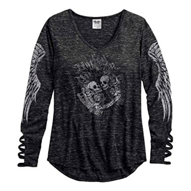 06f980e2ca00 Harley-Davidson Women's Laced Cuff Long Sleeve V-Neck Shirt (S) Black