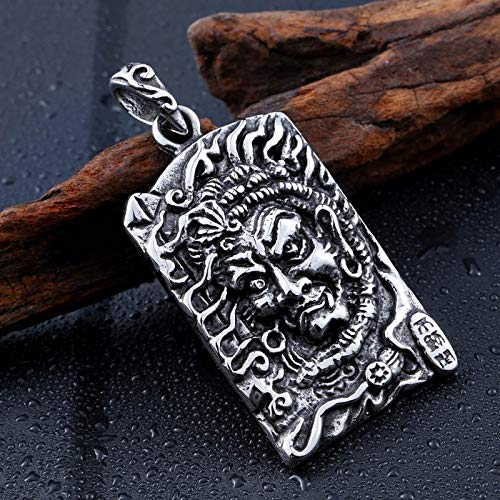 Davitu Cool Mens Gothic Carving Stainless Steel Pendant Necklace Detail Biker Jewelry BP8-228