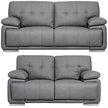 Massa Grey Leather Sofa Range 3 and 2 Seater Sofas (All ...