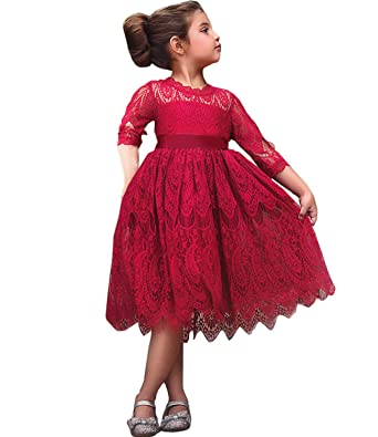 fd7a7583 NNJXD Girls Lace Princess Dress Flower Girl's Bridesmaid Wedding Party  Pageant Vintage Dresses Size(100