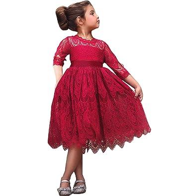 ec0a408960b NNJXD Girls Lace Princess Dress Flower Girl s Bridesmaid Wedding Party  Pageant Vintage Dresses Size(100