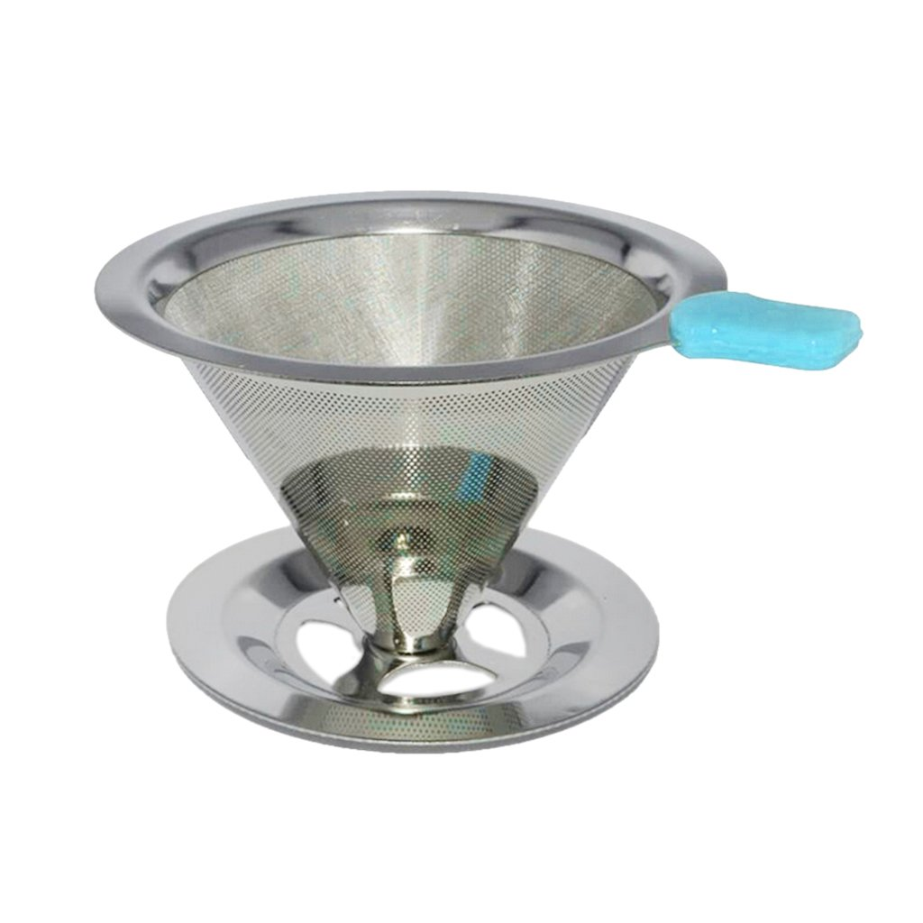 MagiDeal Stainless Mesh Coffee Filter Cup Cone Pour Over Drip Dripper Holder #2 90mm