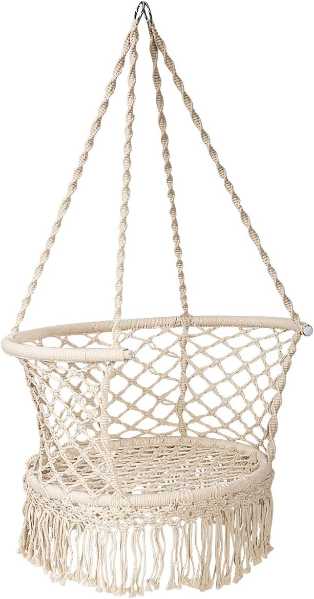 Giantex Hammock Chair Macrame Swing, Cotton Rope Handwoven Hanging Chair with Tassels, Max 350LBS, Perfect for Indoor Outdoor, Bedroom, Patio, Garden, Backyard Beige