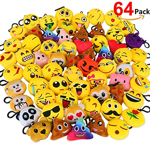Dreampark Emoji Keychain Mini Cute Plush Pillows, Key chain Decorations, Kids Supplies, Party Favors for Kids (64 Pack) (Keychain Key)
