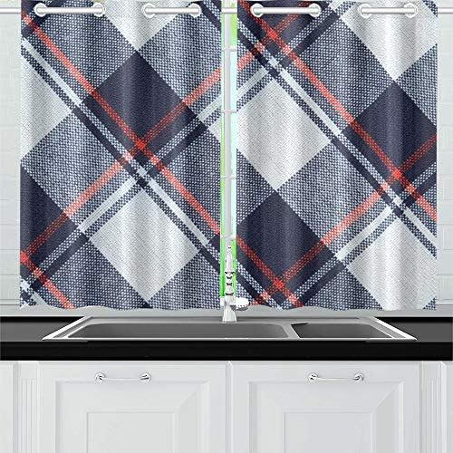YUMOING Fabric Plaid Texture Blue Red White Kitchen Curtains Window Curtain Tiers for Café, Bath, Laundry, Living Room Bedroom 26 X 39 Inch 2 Pieces