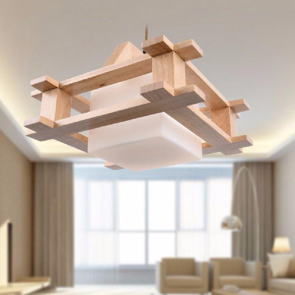 HQLCX Chandelier Nordic Wood Chandelier Simple Modern Bedroom Lamp Chandelier Log Tatami Restaurant
