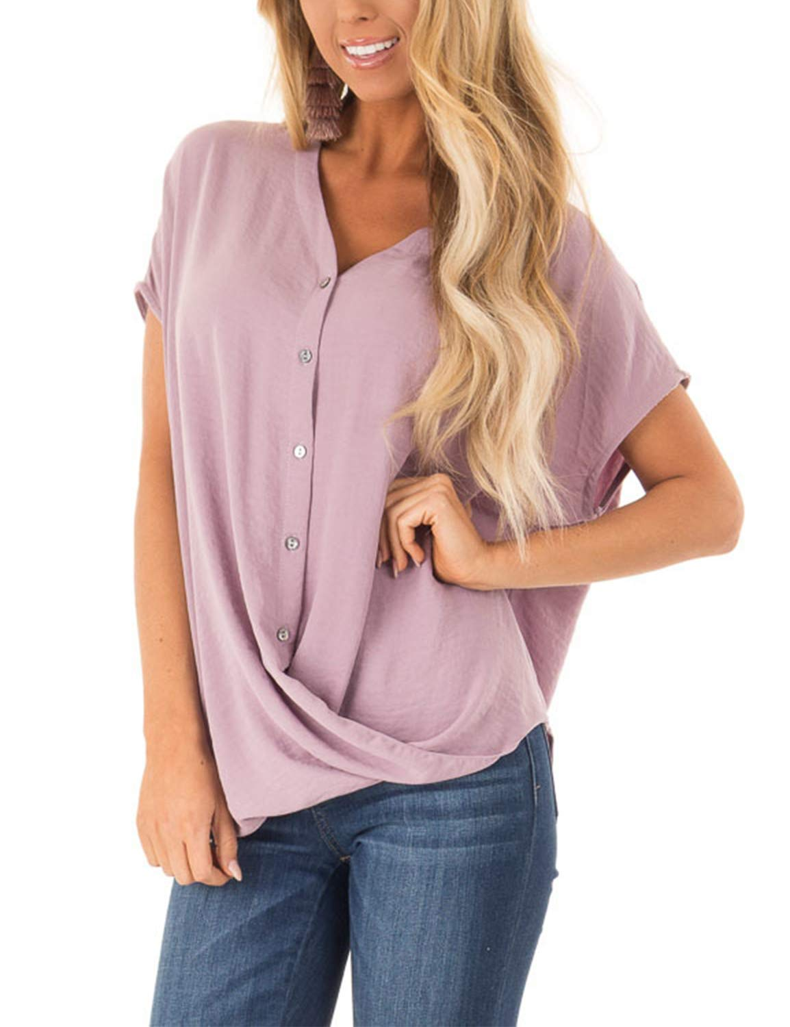BMJL Women's V Neck T Shirt Short Sleeve Loose Top Batwing Ruched Blouse Purple