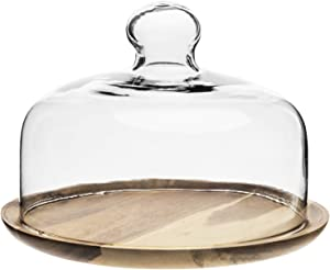 MyGift 7.5 Inch Small Clear Glass Dessert/Cheese Cloche Dome with Acacia Wood Serving Tray