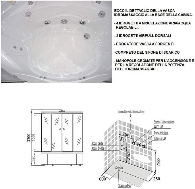 idroness Box ducha hidromasaje Esquina 6 chorros 135 x 135 cm ...