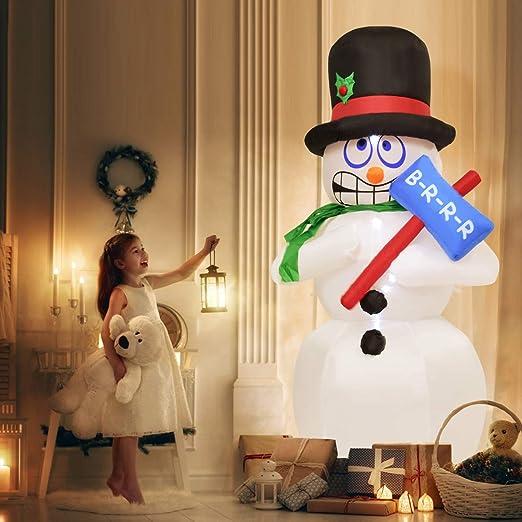 Tangkula - Muñeco de Nieve Hinchable de 6 pies con luz LED: Amazon ...