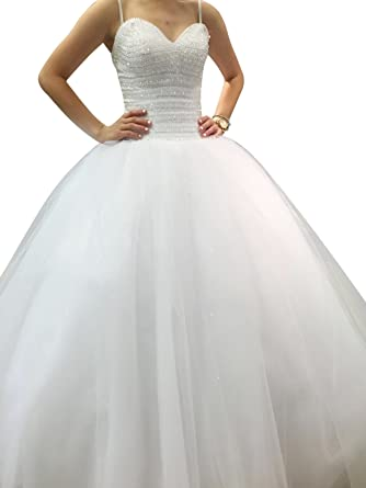 ScelleBridal Off The Shoulder Beaded Sequin Ball Gown Wedding Dress ...