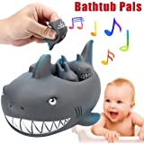 MML Shrilling Rubber Cute Shark Family Bathtub Pals Floating Bath Tub Toy For Kids (4pcs, Gray)