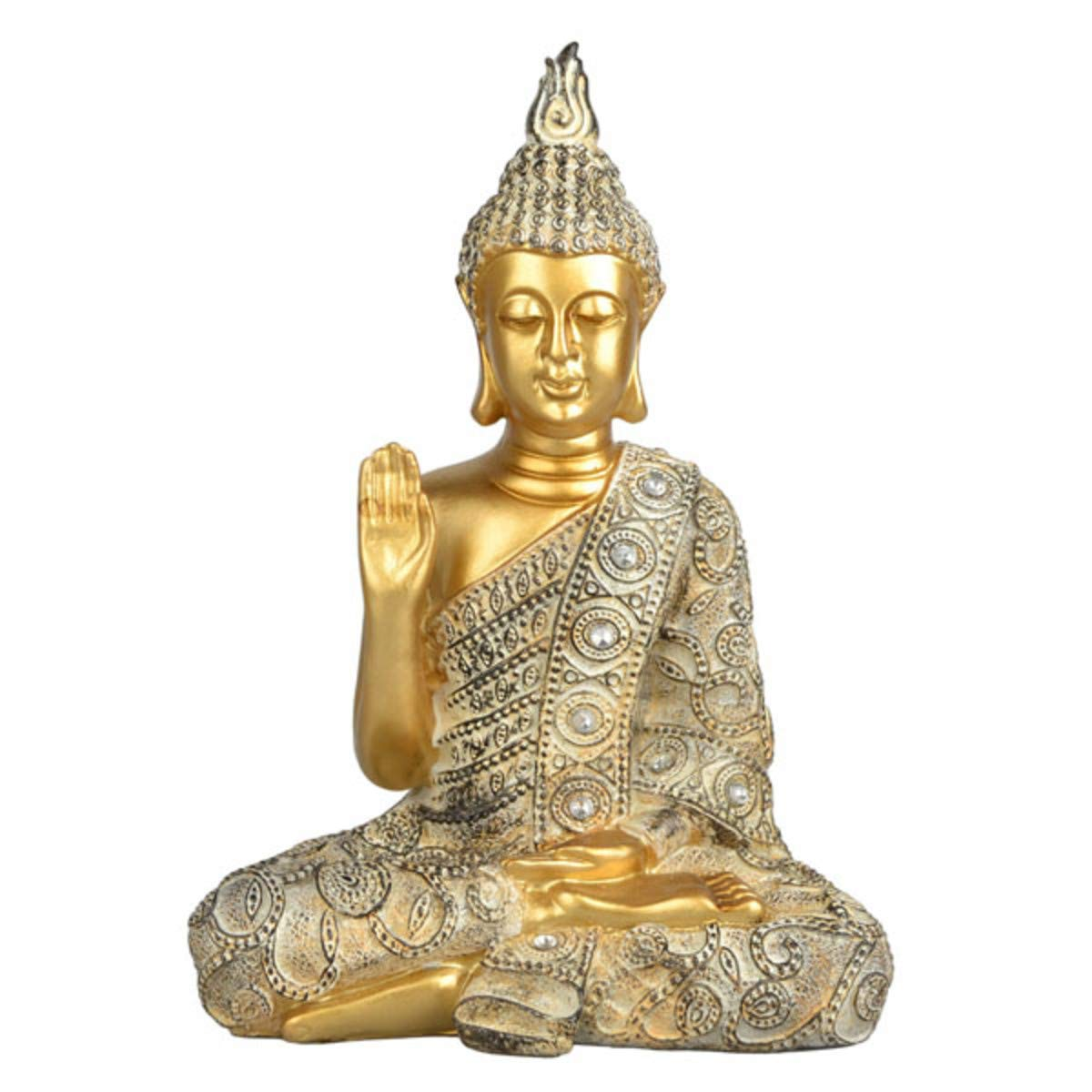"4Rissa Meditating Blessing Medicine Buddha Statuette - Polyresin / 9.5"" Tibetan Statue Figure Figurine Zen Yoga Meditation Home Decor"