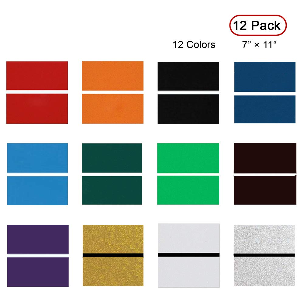 XLNT Engraving Double Color Sheet (7'' x 11'' x .060'', 12 Pieces & 12 Colors) for Interior Signs, Badges. by XLNT