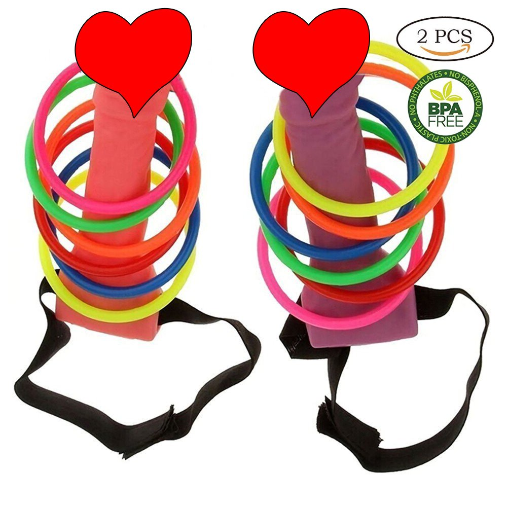 White Tigo 2pcs Bachelorette Party Favor Ring Toss Hoopla Games Set Girls Night Out Hen Party Games