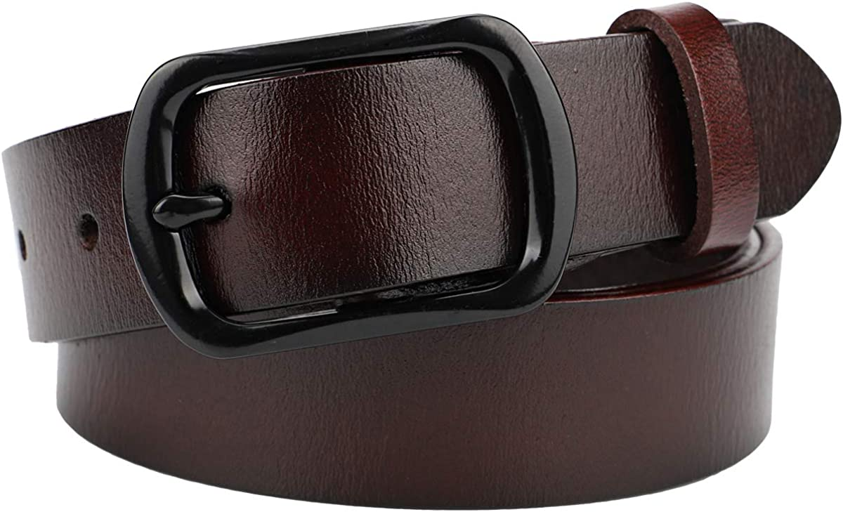 McFanBe Ladies Leather Belt for Women Girls Jeans Dress Pants 1.1 Inches Width