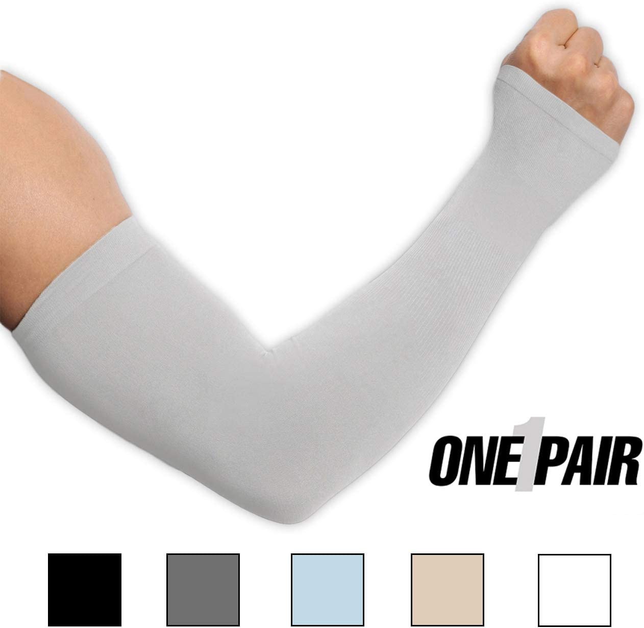UV Protection Cooling Arm Sleeves - UPF 50 Compression Sun Sleeves with Hand Cover for Men & Women for Running, Cycling, Fishing, Golf, Baseball & Basketball - Skin Cancer Foundation Recommended