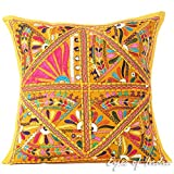 Eyes of India 16'' Yellow Patchwork Colorful Decorative Couch Sofa Pillow Cover Cushion Throw Boho Indian Bohemian