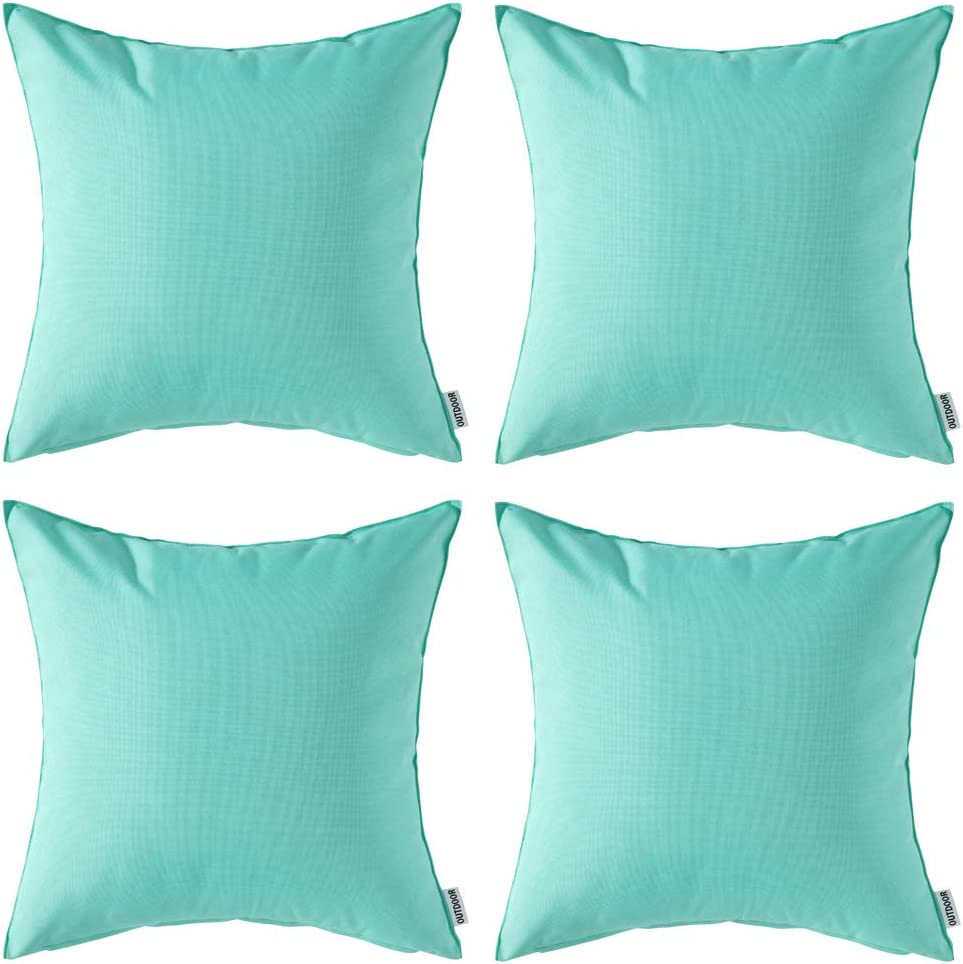 Pack Of 4 Miulee Decorative Outdoor Waterproof Pillow Cover Square Garden Cushion Case Pu Coating Throw Pillow Cover Shell For Tent Park Couch 18x18 Inch Light Green Kitchen Dining Amazon Com