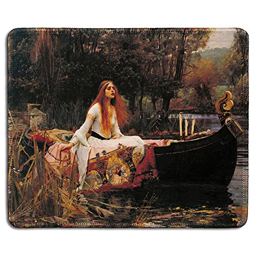 dealzEpic - Art Mousepad - Natural Rubber Mouse Pad with Famouse Fine Art Painting of The Lady of Shalott by John William Waterhouse - Stitched Edges - 9.5x7.9 - William Paintings