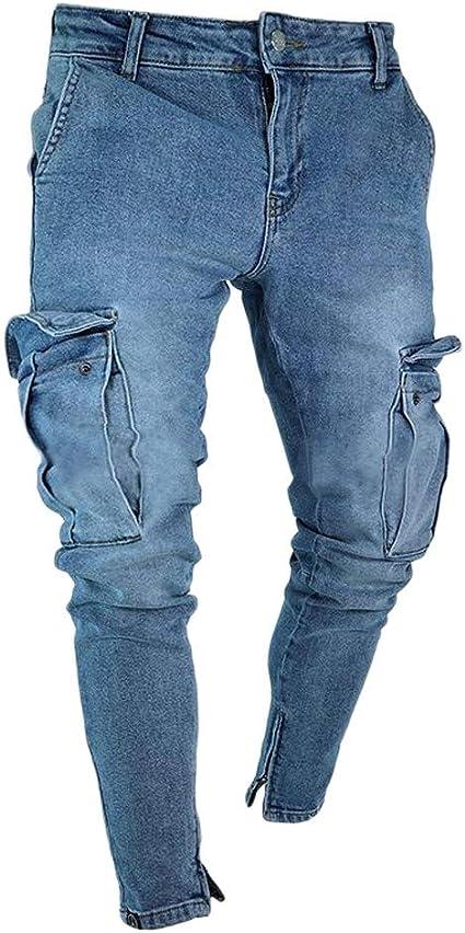 Winwinus Men High Street Straight Destroyed Rugged Wear Denim Shorts