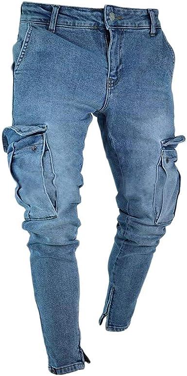 Memefood 2019 Pantalones Vaqueros Hombres Rotos Pitillo Jeans Slim Fit Delgados Casuales Elasticos Agujero De Moda Pantalones Largos Con Bolsillos De Denim Amazon Es Ropa Y Accesorios
