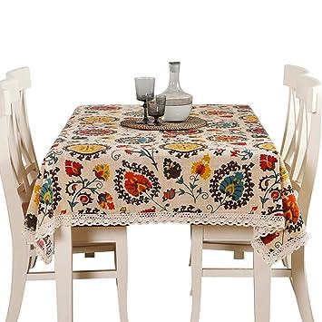 950324f9dc7 Sandweek Vintage Bohemian Pattern Decorative Macrame Lace Tablecloth  Washable Dinner Picnic Cotton Linen Fabric Decorative Table