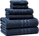 Luxury Hotel & Spa, Turkish Cotton,6 Pieces Towels Set, Max-Softness by Veteran Textile (Marine Blue)