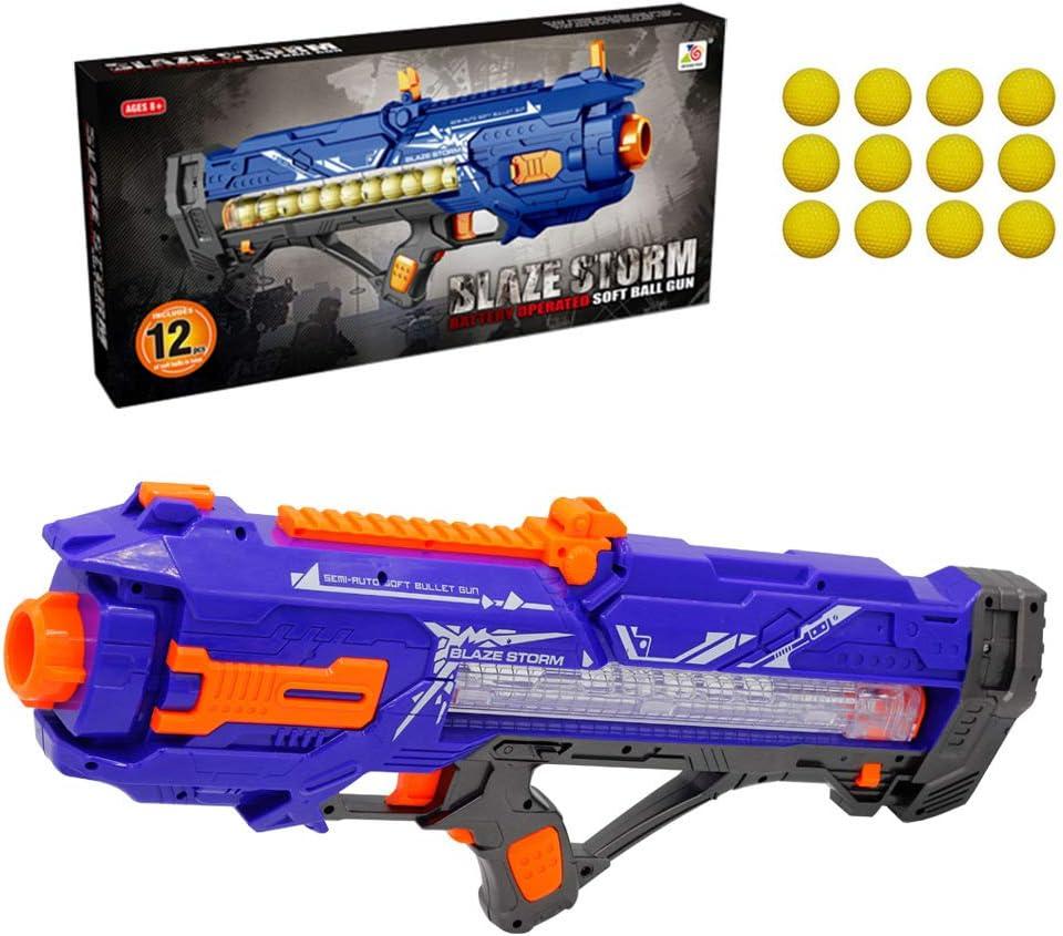 Loadfckcer Pistola eléctrica de proyectil Blando, Bola Suave de 12 Balas (Gran Capacidad), Balas de PU no lesionan a Las Personas, Intensidad de Disparo razonable (Muy Segura)