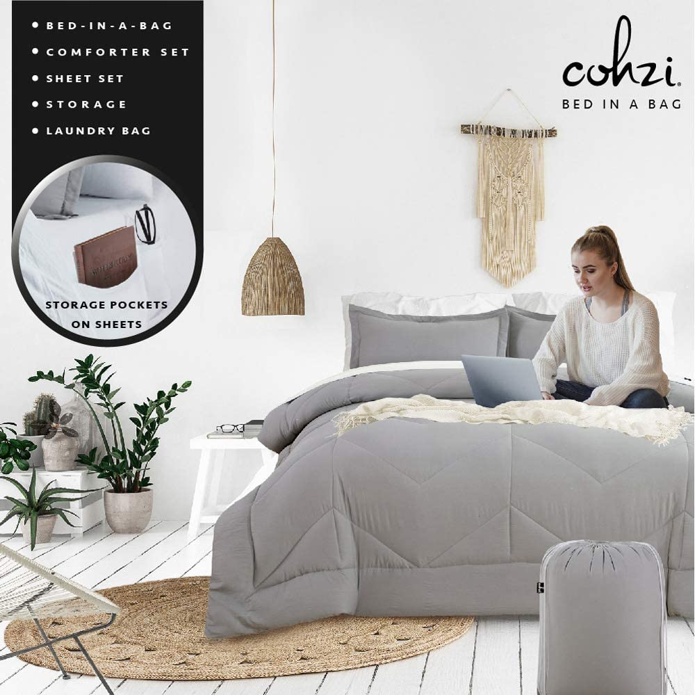Cohzi Queen Bed Set with Comforter and Sheets - 8 Piece Bed in A Bag Stone Washed Bedding Set with White Sheet Set with Side Pockets Grey Comforter Set with Storage Bag and Shams Complete Bedset