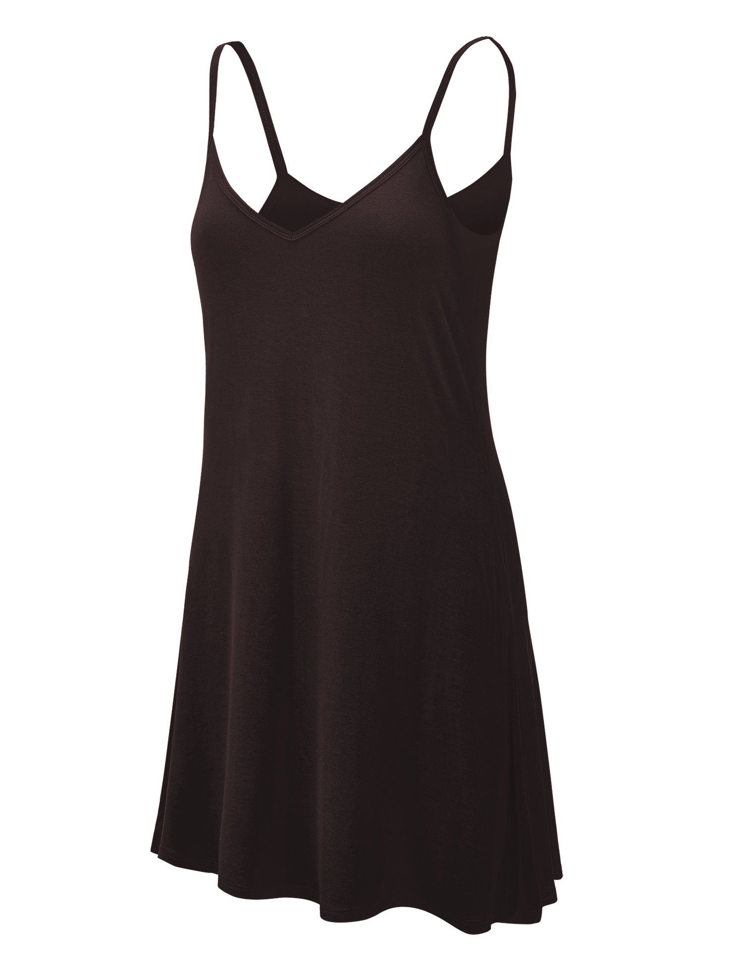 WDR1090 Womens V Neck Spaghetti Strap Tunic Short Dress S Brown