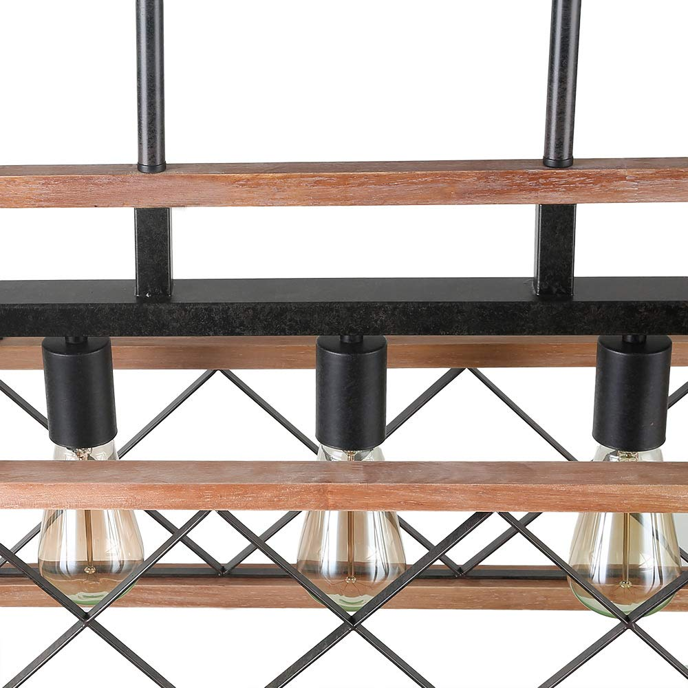Giluta Rustic Wooden Chandelier Kitchen Island Light Farmhouse Chandelier Hanging Pendant Lighting Fixture Vintage Ceiling Light 5 Lights Ideal for Living Room Pool Table or Foyer (C0060) by Giluta (Image #6)