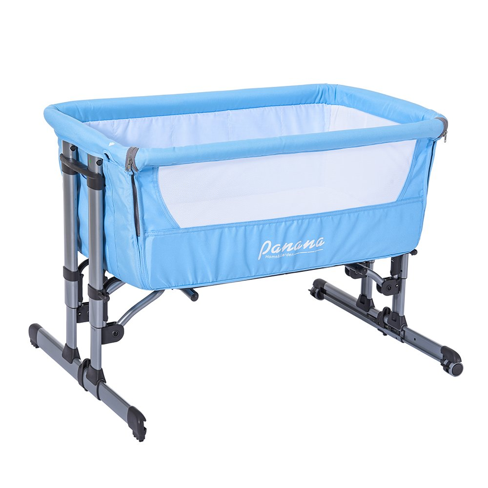 MissSnower Next to me Side Sleeping Crib with Mosquito Net and Carry Bag, Fixed and Swing 2 in 1 Baby Bed, Brown