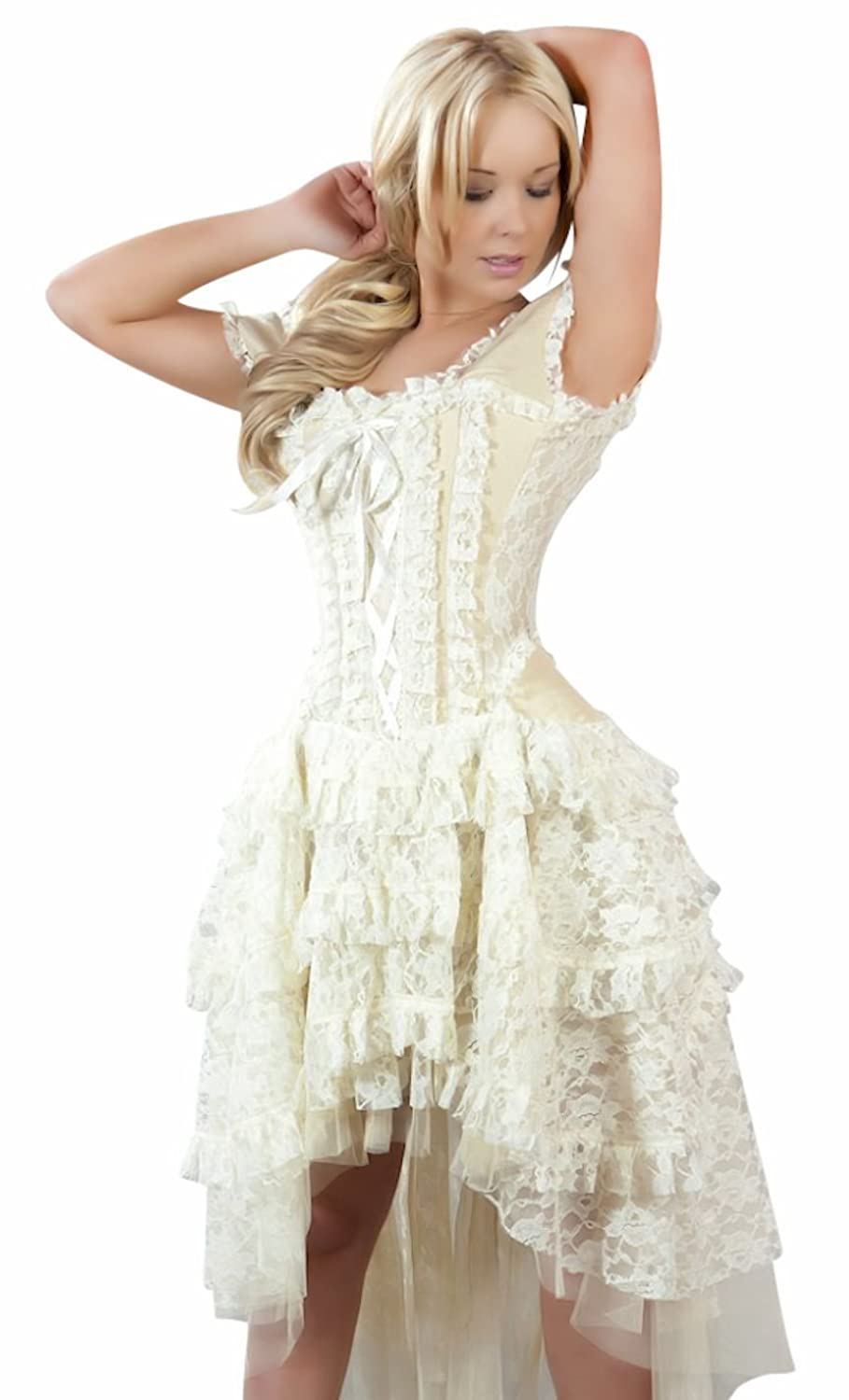 Plus Size Vintage Dresses, Plus Size Retro Dresses Steampunk Corset Dress $139.99 AT vintagedancer.com