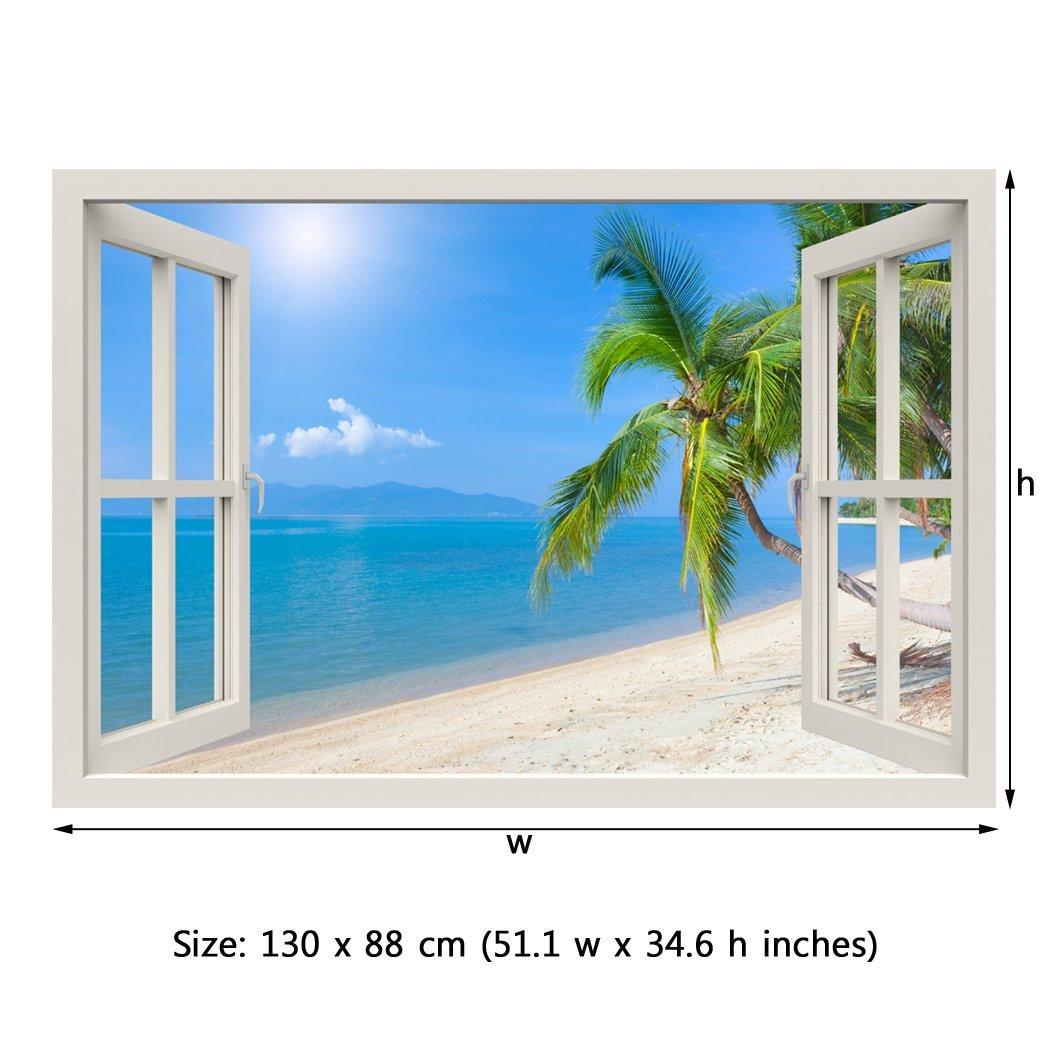 Royalwallskins Window Frame Mural Tropical Beach With Coconut Palm